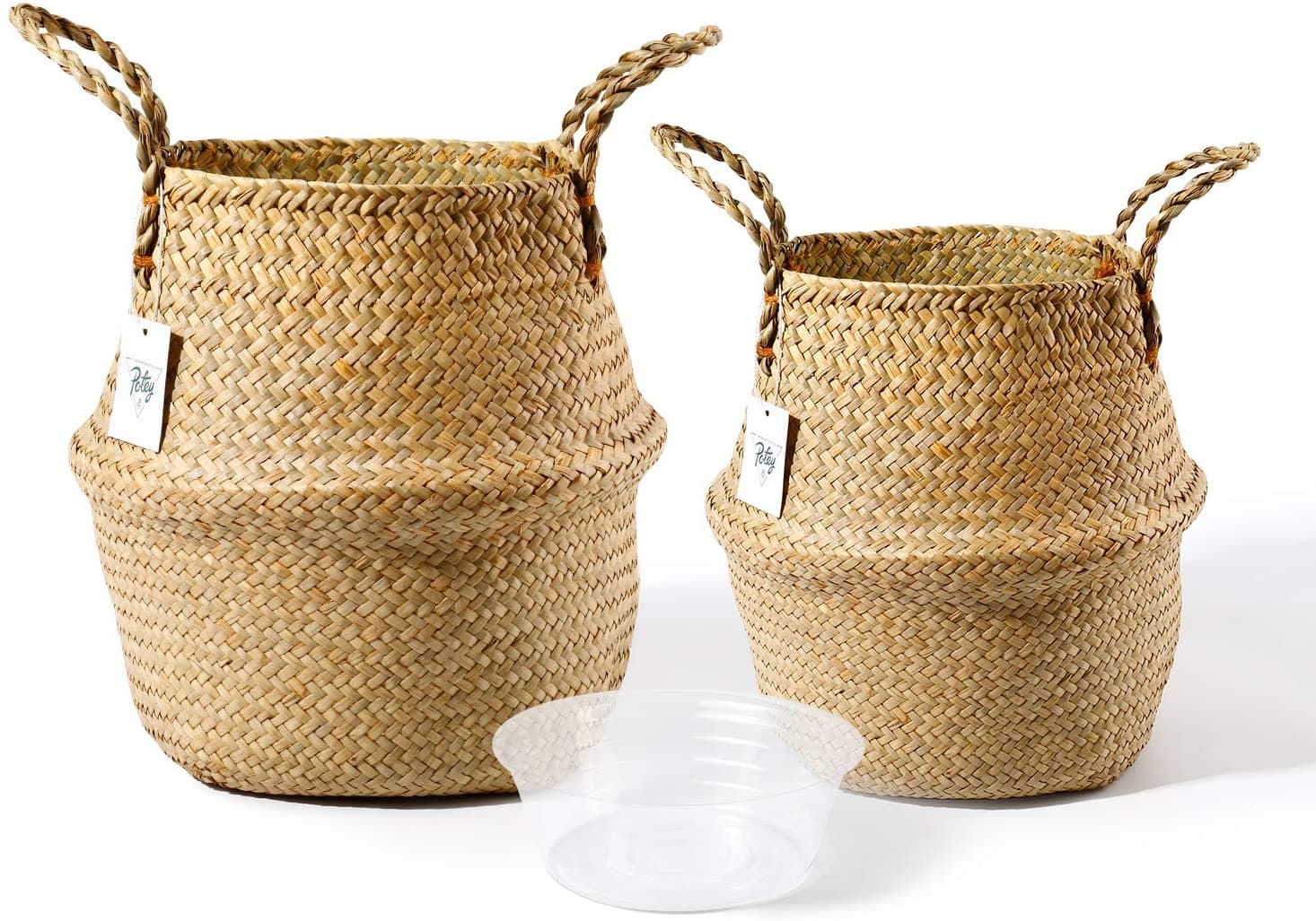 Hand Woven Seagrass Plant Baskets with Handles - Set of 2 $18.84