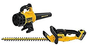 DEWALT : 22 in. 20-Volt MAX Lithium-Ion Cordless Hedge Trimmer with 5.0Ah Battery, Charger and Handheld Leaf Blower $179.98