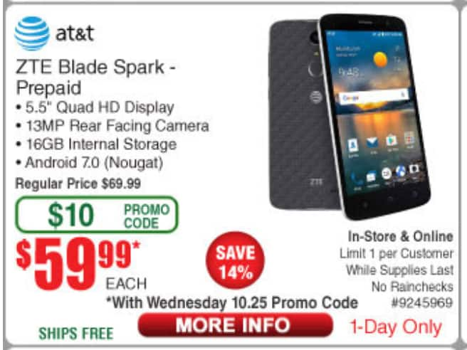 AT&T GoPhone - ZTE Blade Spark 4G with 16GB Memory Prepaid Cell Phone - $59.99 After Frys $10 promo code