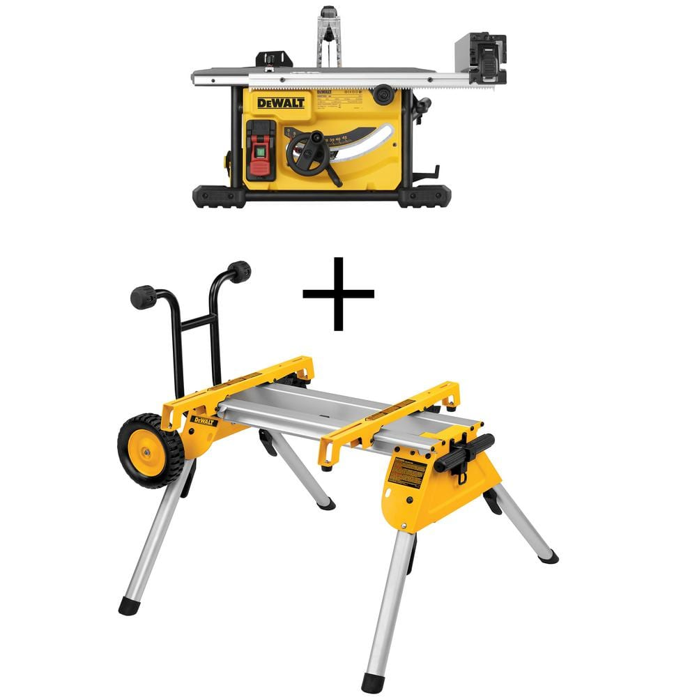 Dewalt 15 Amp Corded 8-1/4 in. Compact Jobsite Tablesaw with Bonus Heavy-Duty Rolling Table Saw Stand $359