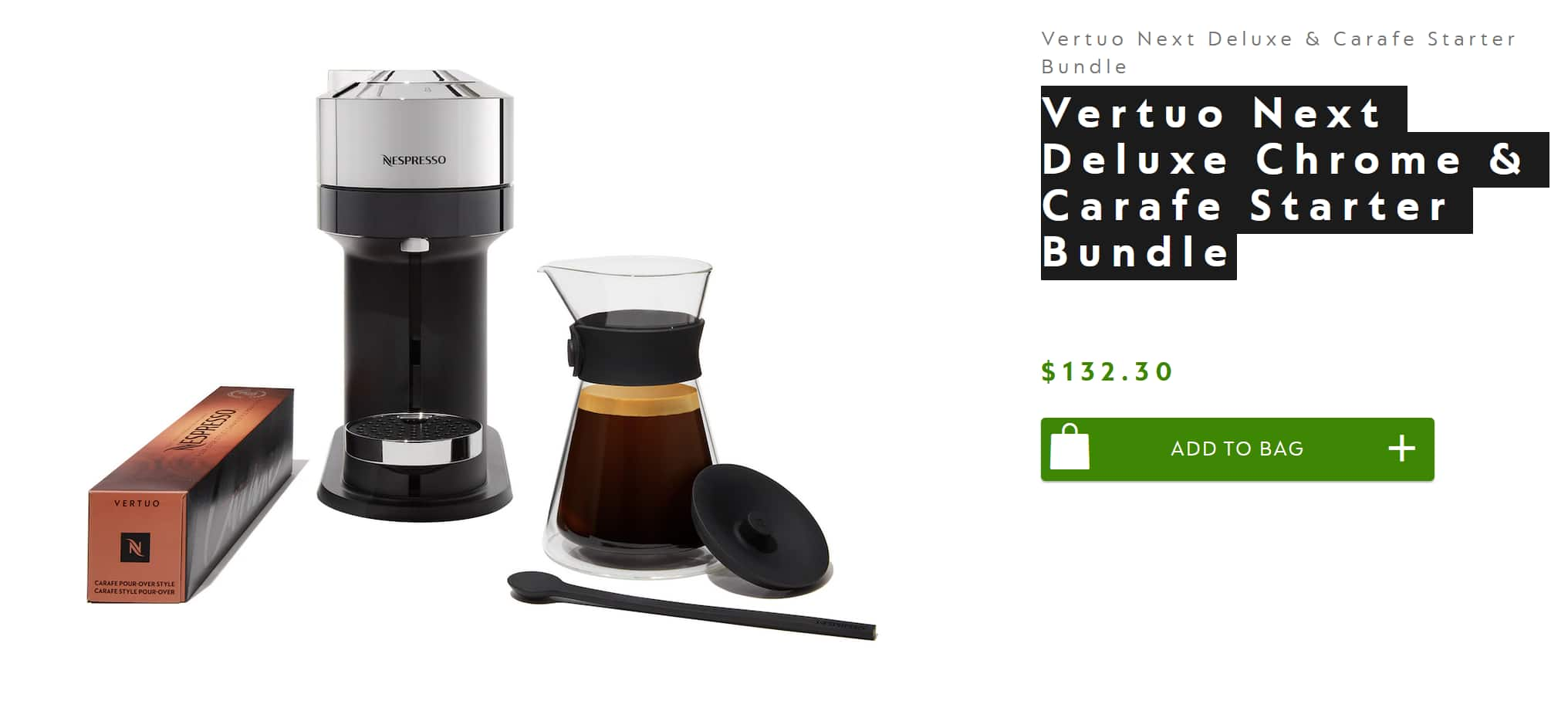 Vertuo Next Deluxe Chrome/Dark Chrome with a free Carafe Starter Bundle $132.3