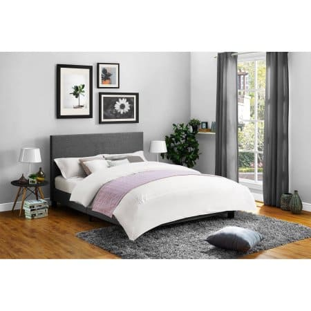Best Mainstays Upholstered Bed Option of Linen and Faux Leather Multiple Colors Queen bed size queen Slickdeals net