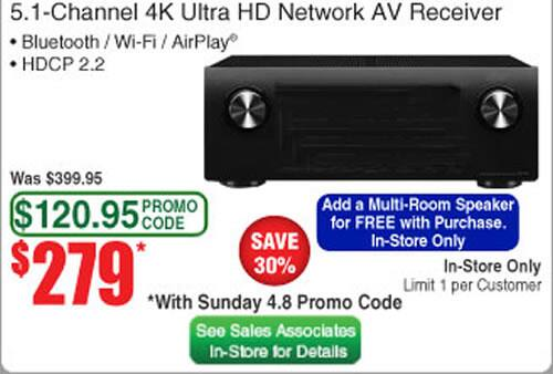 Yamaha RX-V483 Receiver Includes Free Yamaha MusicCast Wireless Speaker - $279 @ Fry's (In Store Only w/Promo Code)