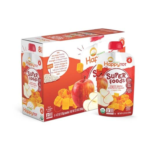Happy Tot Organic Stage 4 Apples & Butternut Squash + Super Chia 4.22 Ounce (Pack of 16), $11.46