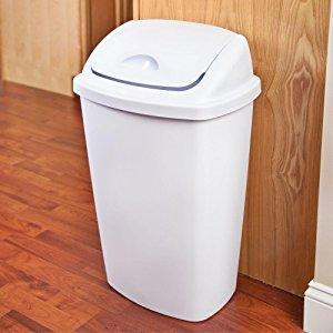 case of 4, Sterilite 13.2 Gallon/50 Liter SwingTop Wastebasket, White,  $39