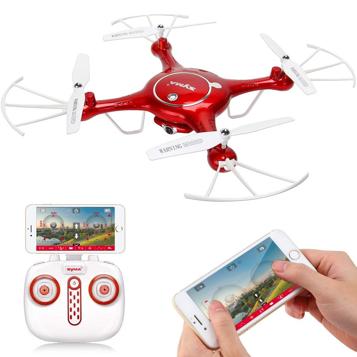 Syma X5UW Wifi FPV 720P HD Camera Quadcopter Drone with Flight Plan Route App Control and Altitude Hold Function Red: Camera & Photo Lightning Deal $47