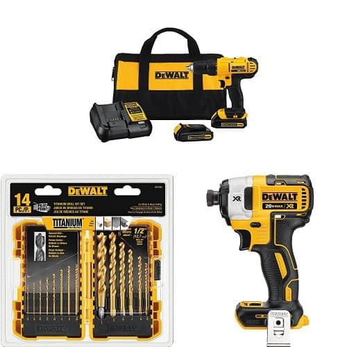 Dewalt DCD771C2 Compact Drill Driver Kit with DCF887 Impact Driver and 14-Piece Titanium Drill Bit Set $150