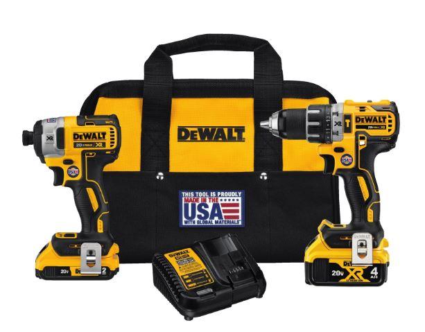 DeWalt 20V MAX XR Brushless Hammer Drill and Impact Driver Kit $219