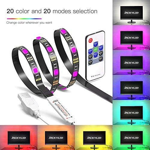 TV LED Light Strip JACKYLED 6.6Ft 60Leds LED TV Backlight Strip USB Set For TV Desktop PC (Mini Controller) $6.25