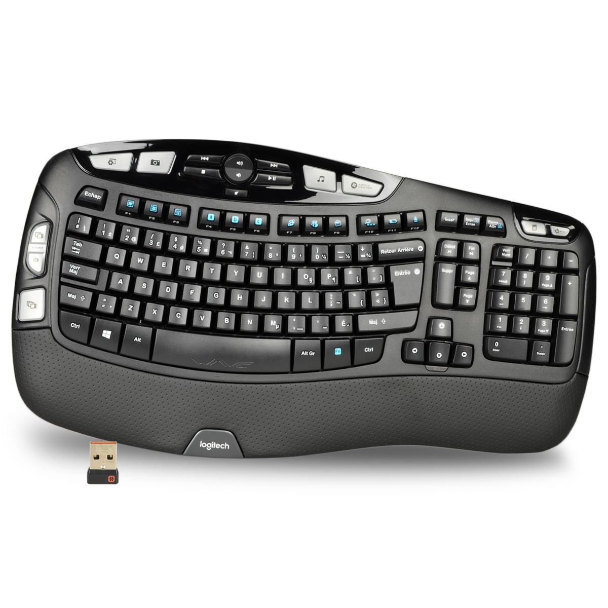 Logitech K350 102 Key Wireless USB Multimedia Wave Keyboard - French Layout $27.95 + FS