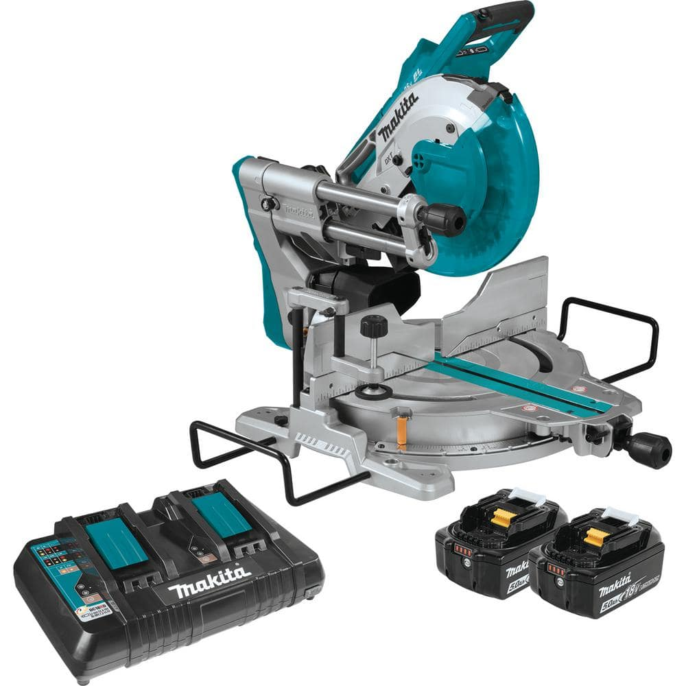"Makita 10"" X2 LXT Brushless Miter Saw with batteries (5ah) and charger - Stand Return $465.06"