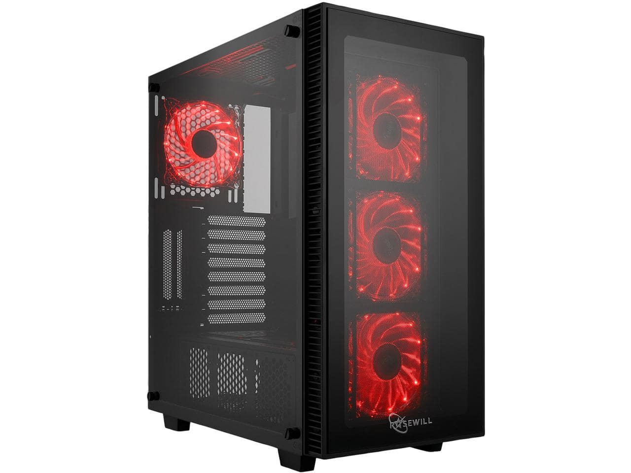 Rosewill ATX Mid Tower Gaming PC Computer Case with Red LED Fans, Tempered Glass/Steel, Optimal Airflow, USB 3.0 - CULLINAN MX-RED $59.99