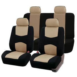 Car Fabric Seat Covers Airbag Compatible & Split Rear W. 4 Detachable Headrests $34.54