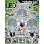 3 pack 60 W LED bulbs Costco $2.99 YMMV!