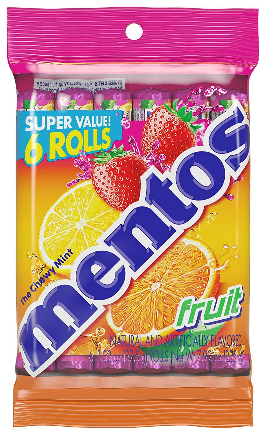 Mentos Chewy Candy 6 Pack, Fruit flavor, 40% off, $1.79, Not S&S!