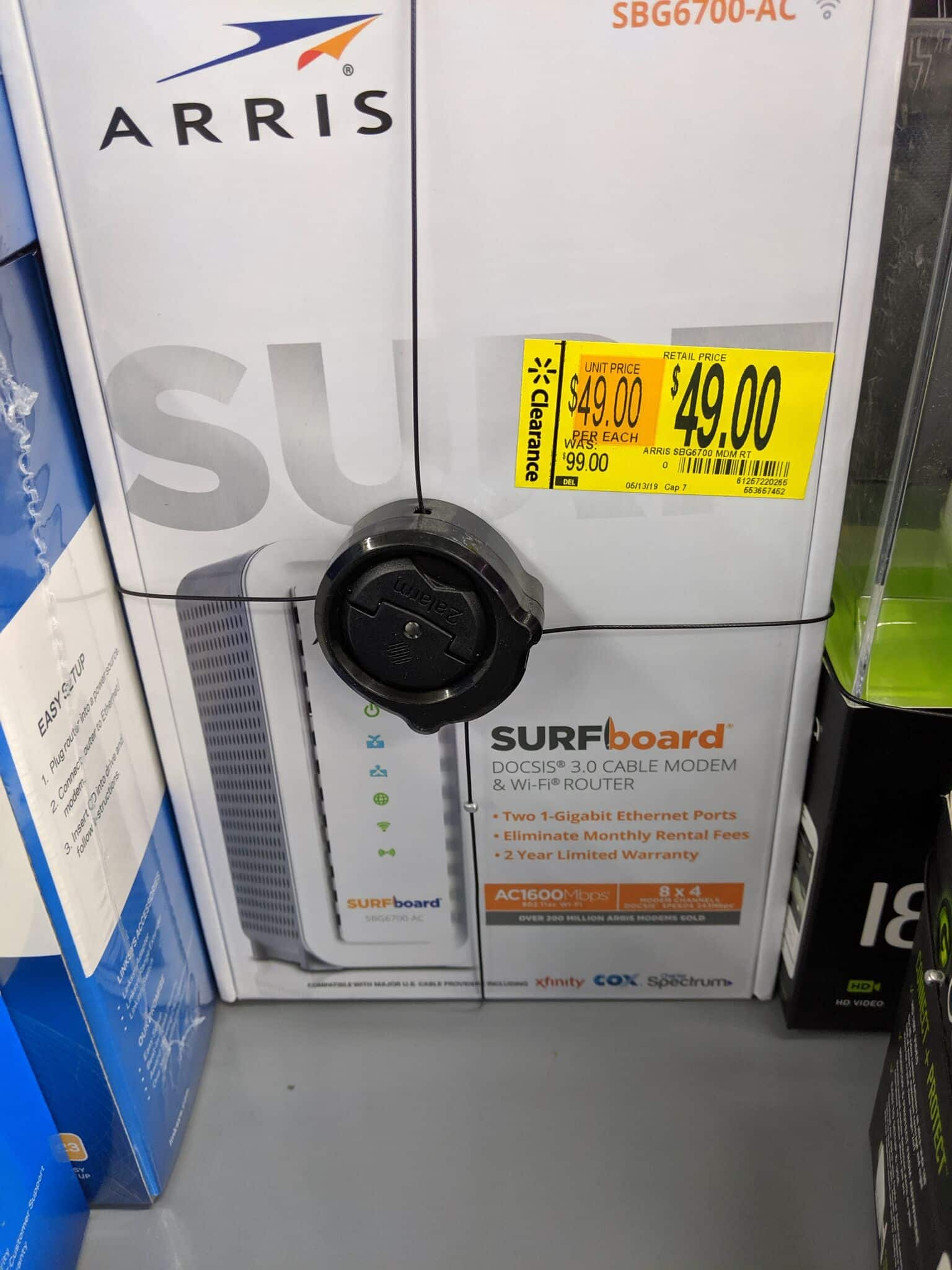 Motorola SBG6700 ARRIS Surfboard (8x4) DOCSIS 3 0 Cable Modem Plus AC1600  Dual Band Wi-Fi Router In Store Clearance YMMV $49