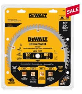 DeWalt 10 inch 60 teeth saw blade $19.99