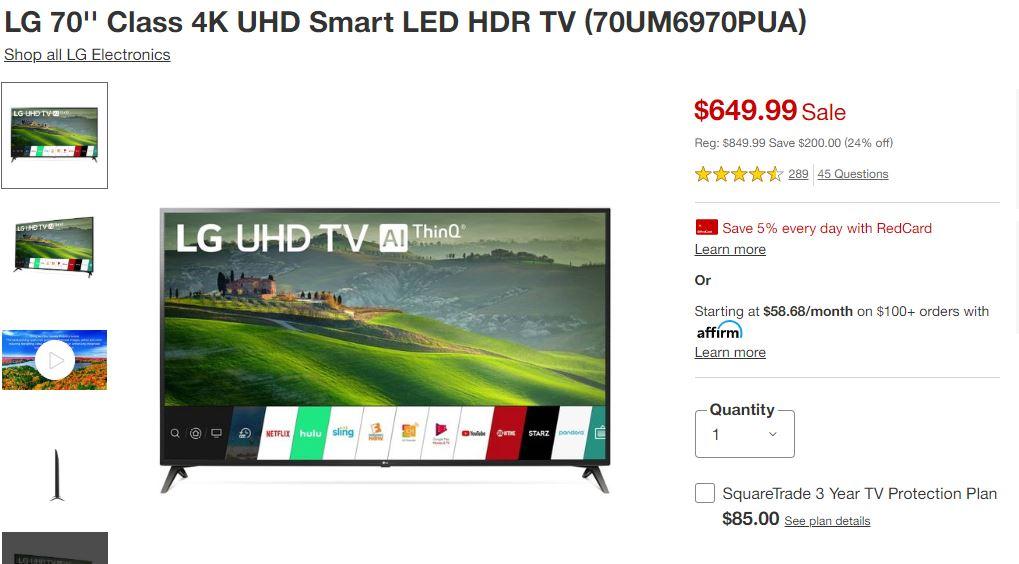 LG 70'' Class 4K UHD Smart LED HDR TV $617.5 YMMV
