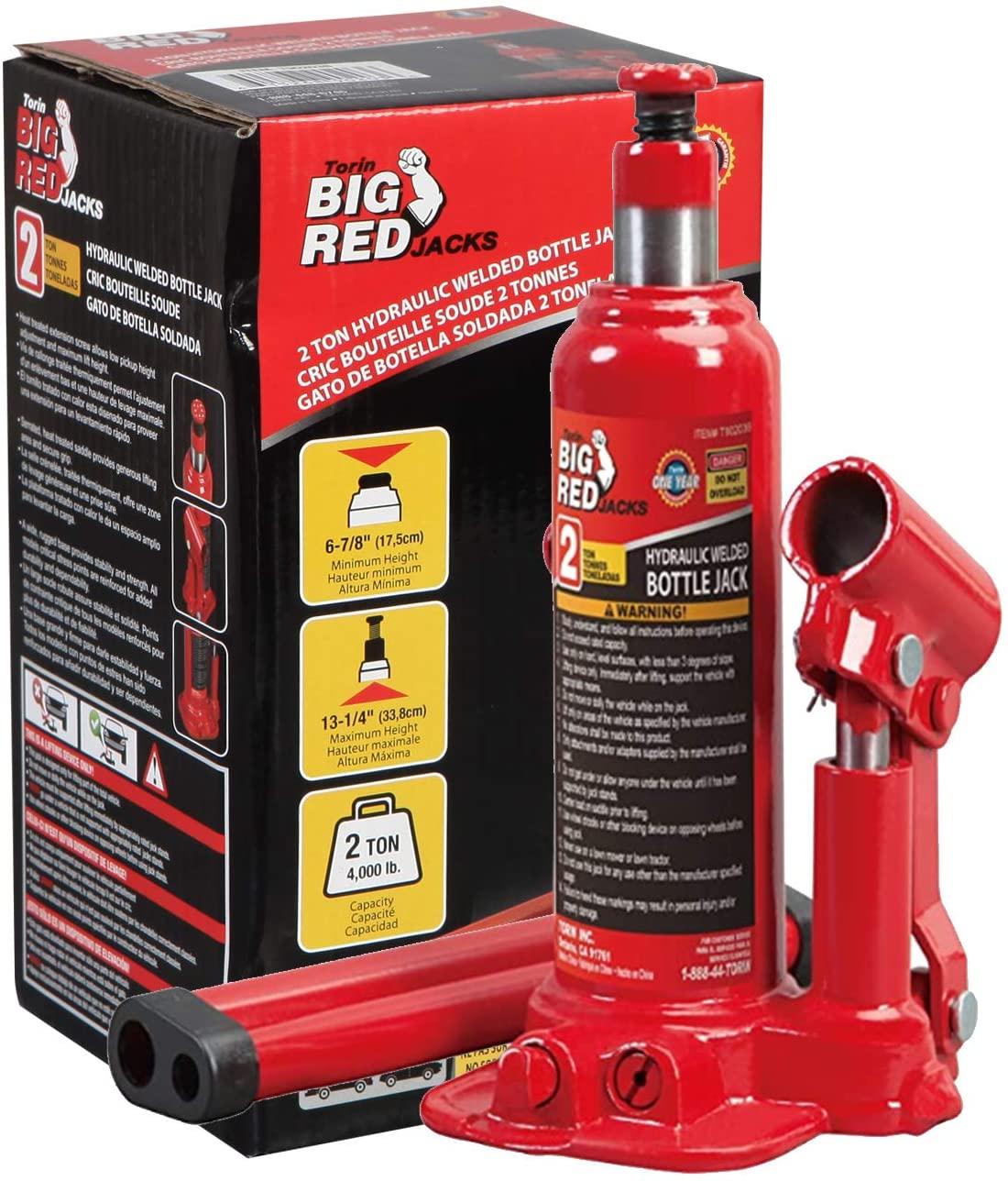 Amazon BIG RED T90203B Torin Hydraulic Welded Bottle Jack, 2 Ton (4,000 lb) Capacity $13.54