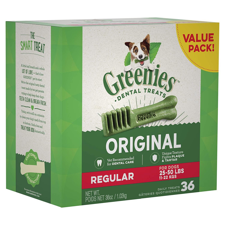 36-Ct. Greenies Regular Natural Dental Dog Treats $14