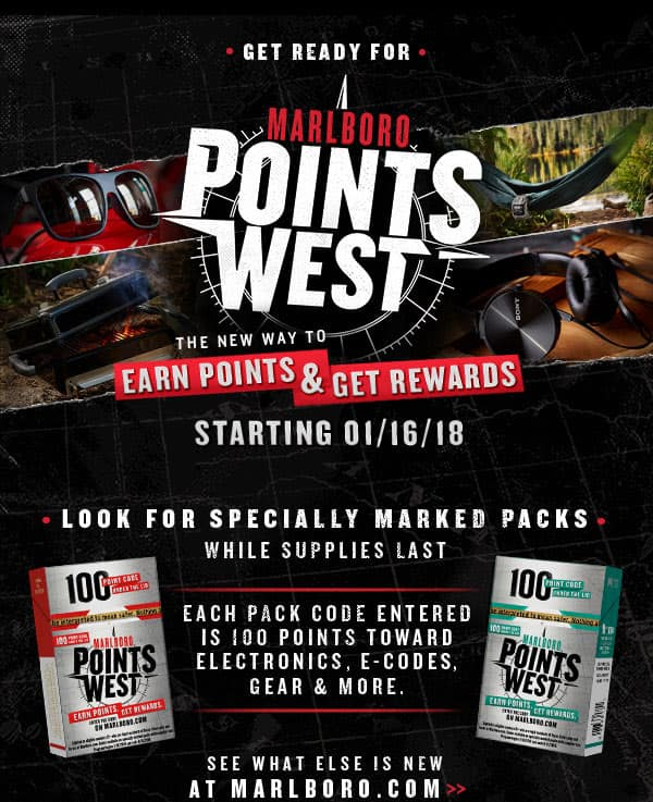 Marlboro Points West Promotion Starts 1/16/18 (Texas Residents Only)
