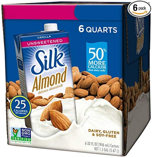 Silk Almond Milk, Unsweetened Vanilla, 32 Fluid Ounce (Pack of 6), Vanilla Flavored Non-Dairy Almond Milk, Dairy-free Milk $10.48