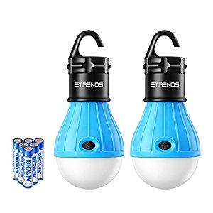 2 Pack E-TRENDS Portable LED Lantern Tent Light Bulb for Camping Hiking Fishing Emergency Light. $7.49 FS w/ prime