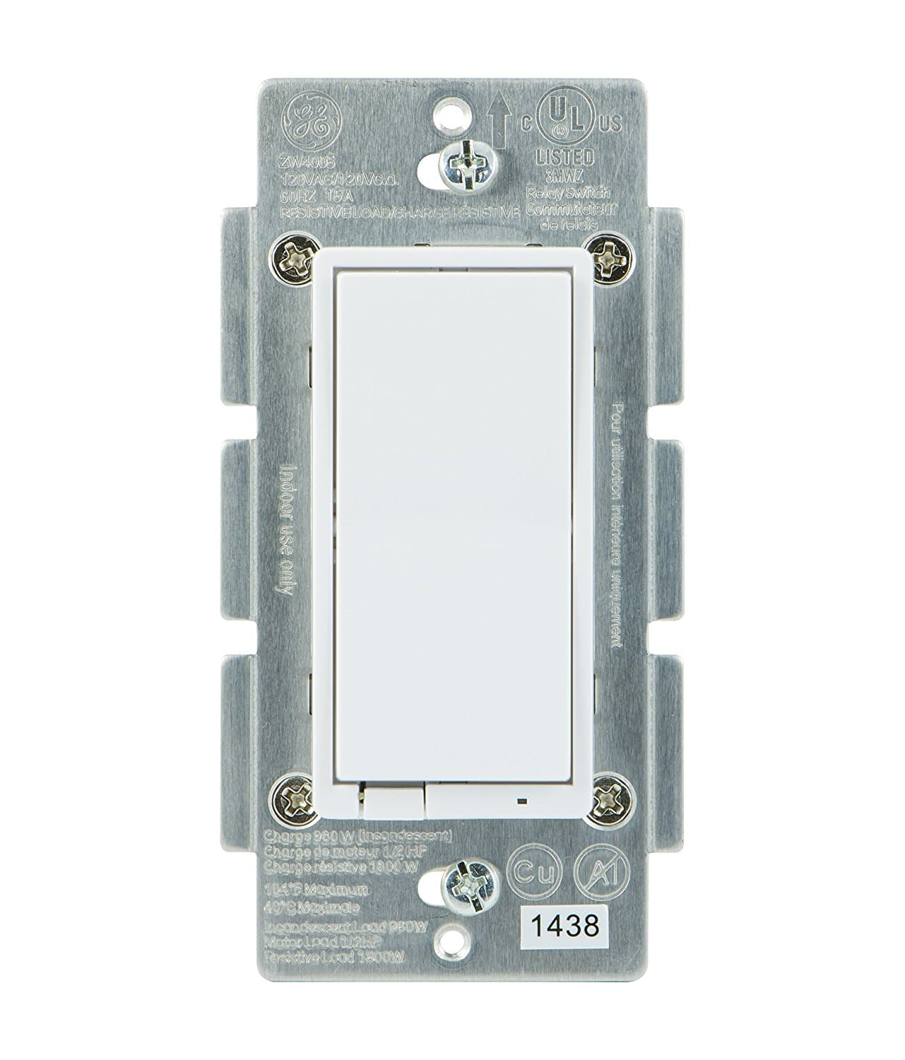 GE Z-Wave Wireless Smart Lighting Control Smart Switch, On/Off, In-Wall, Includes White & Light Almond Paddles, Works with Amazon Alexa, 12722 [In-Wall Paddle Switch] $19