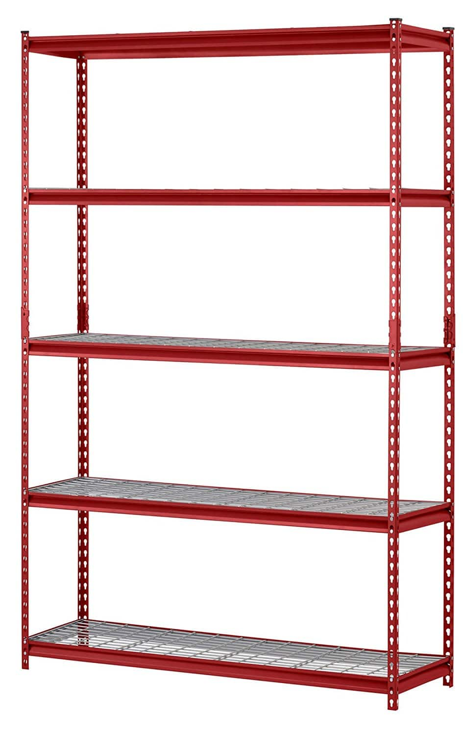 "Muscle Rack 5-Shelf Steel Shelving Unit, 48"" Width x 72"" Height x 18"" Length, Red $52.61"