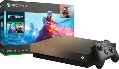 Microsoft Xbox One X 1TB Gold Rush Special Edition Battlefield V Bundle with 4K Ultra HD Blu-ray Gray Gold FMP-00023 - Best Buy  $500