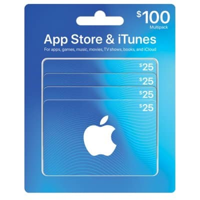 $100 App Store & iTunes Gift Cards Multipack - 4/$25- $85 sams club