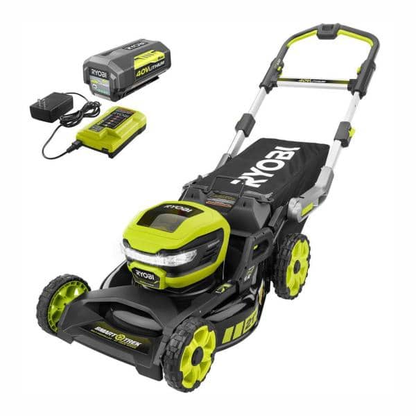RYOBI 21 in. 40-Volt Brushless Lithium-Ion Cordless SMART TREK Self-Propelled Walk Behind Mower with 6.0Ah Battery and Charger $370
