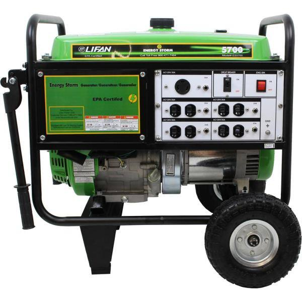 LIFAN Energy Storm 5,700/5,000-Watt Gasoline Powered Portable Generator $550