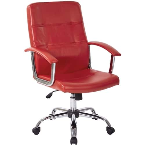 AveSix Malta 5-Pointed Star Chrome and Faux Leather Office Chair Red MAL26-RD - Best Buy $80