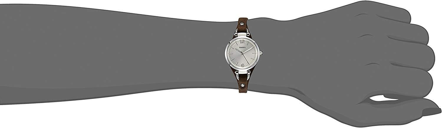 Fossil Women's Georgia Quartz Stainless Steel and Leather Casual Watch $36