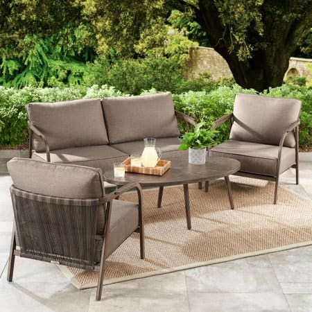 Better Homes & Gardens Arlo 4-Piece Patio Loveseat Set with Beige Cushions $268