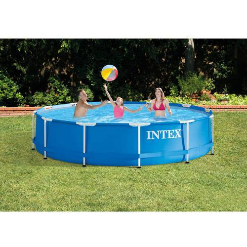 Intex 12' x 30'' Metal Frame Above Ground Swimming Pool with Filter Pump $74