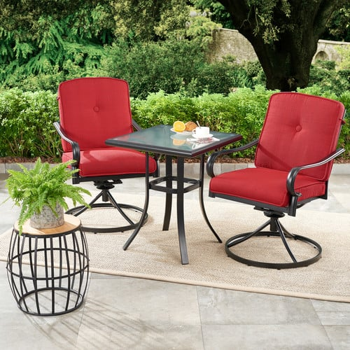 Mainstays Carson Creek 3-Piece Patio Bistro Set with Brick Red Cushions $175
