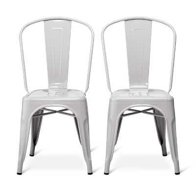 Set of 2 Carlisle High Back Metal Dining Chair - Gray $66