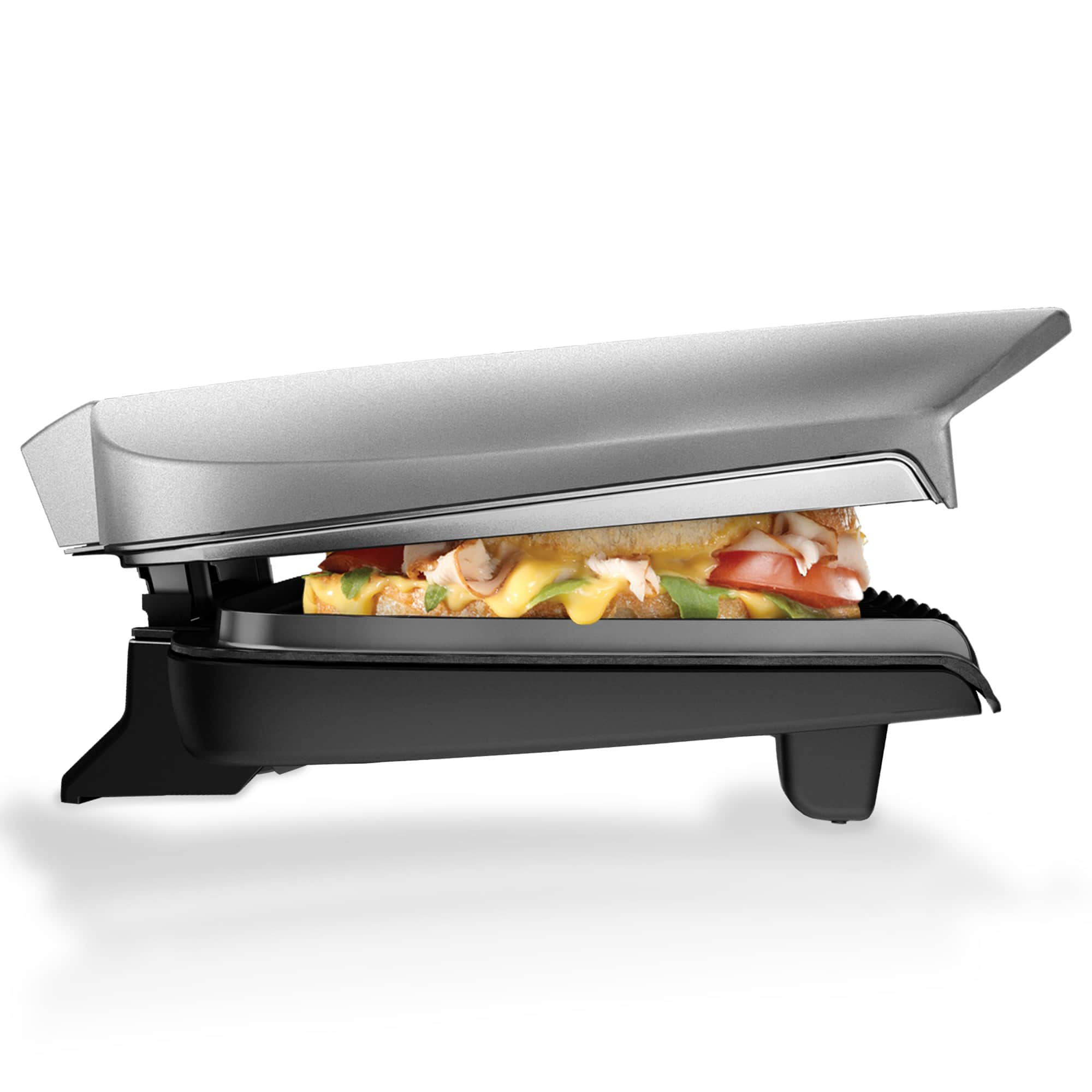George Foreman 9-Serving Classic Plate Electric Indoor Grill and Panini Press, Platinum, GR2144P $26