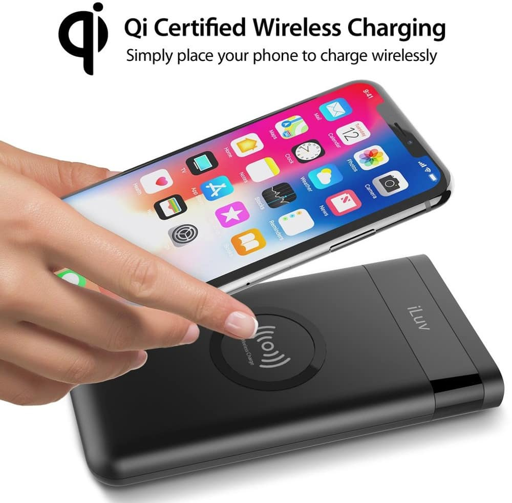 iLuv myPower10Q 10,000mAh Battery Pack and Qi Wireless Charger,Total 15W output for quick charge $20