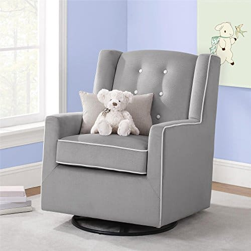 Baby Relax Emmett Button Tufted Upholstered Swivel Glider, Graphite Gray $205