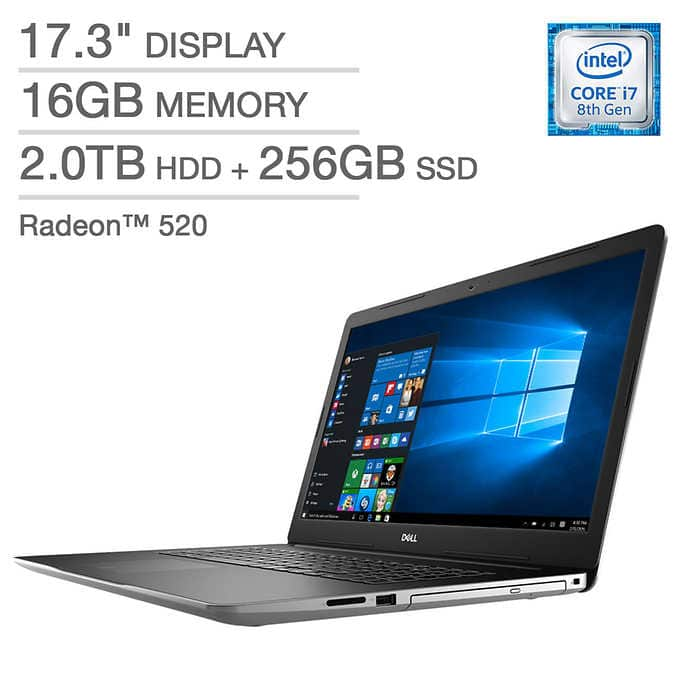 Dell Inspiron 17 3000 Series Laptop - Intel Core i7 - Radeon 520 - 1080p - Windows 10 Pro $900