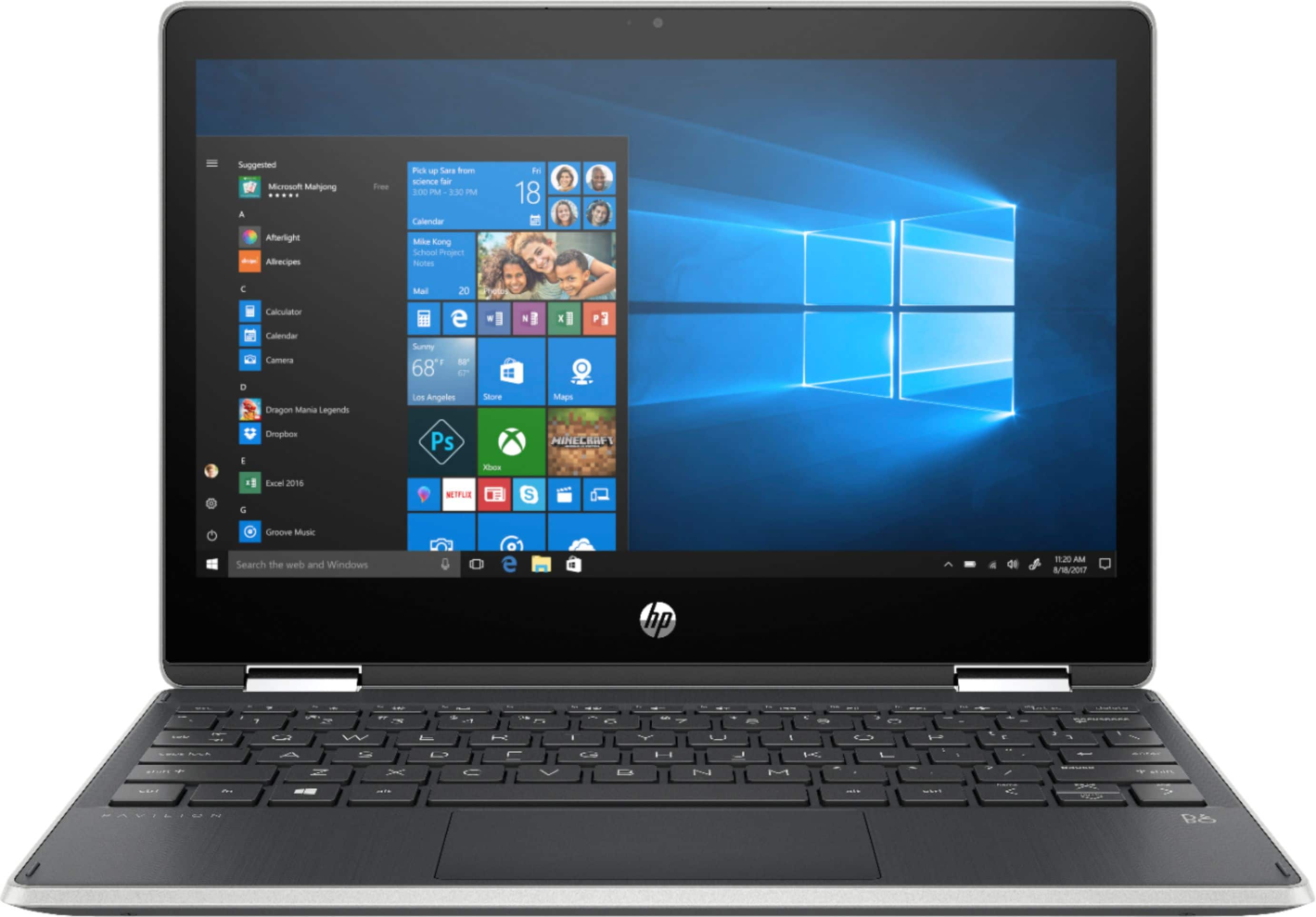 "HP - Pavilion x360 2-in-1 11.6"" Touch-Screen Laptop - Intel Pentium - 4GB Memory - 128GB Solid State Drive - Ash Silver Keyboard Frame, Natural Silver $300"
