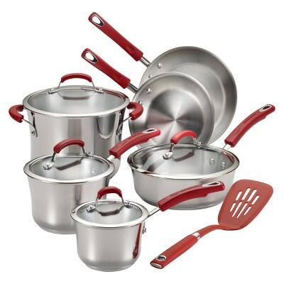 Rachael Ray Stainless Steel 11 piece Cookware Set - Red Handles $76.5