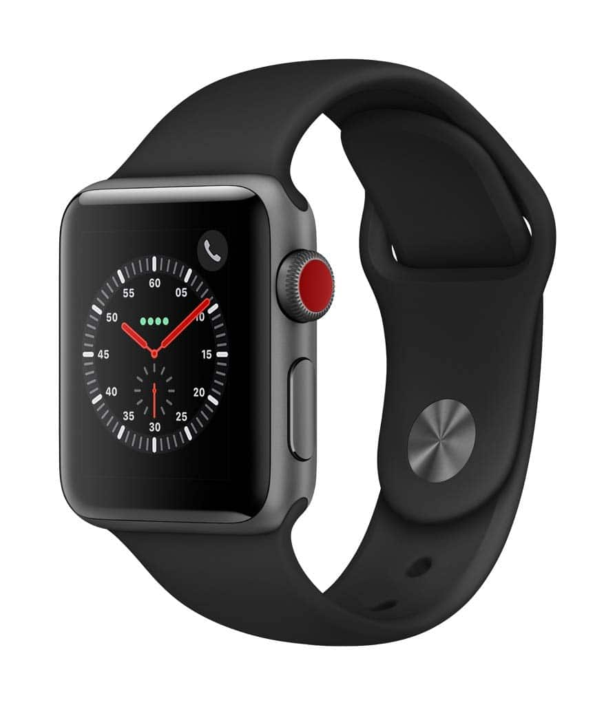 Apple Watch Series 3 (GPS + Cellular, 38mm) - Space Gray Aluminium Case with Black Sport Band $229