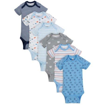 Wonder Nation Short Sleeve Bodysuits, 6pk (Baby Boys) $6