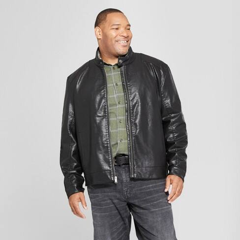 Men's Big & Tall Waxy Front Pocket Moto Jacket - Goodfellow & Co™ Brown $24.74