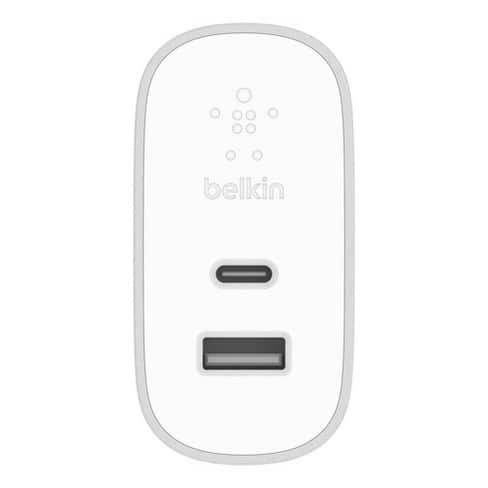Belkin BOOSTUP 2-Port Power Delivery 27W USB-C & 12W USB-A Wall Charger - White $26