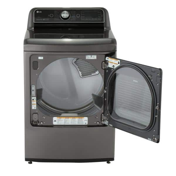 LG Electronics 7.3 cu. ft. Electric Dryer with Turbo Steam in Black Stainless $800